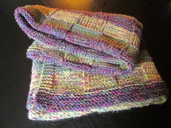Knitted Throw Blanket Vintage Afghan Lap Robe Baby Blanket