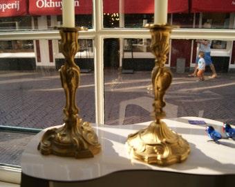Heavy French 19th century Art Nouveau candlestick