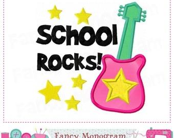 Rocks applique.Guitar embroidery,Guitar design,Guitar applique,Band design,Band applique,Guitar applique,Guitar,School Rocks.