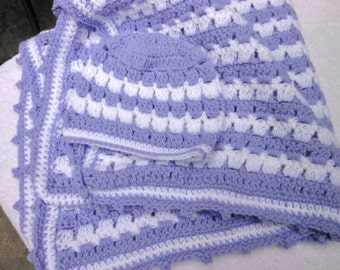 SALE! crochet lavender and white blanket with matching hat, baby shower gift, car seat or stroller throw,  afghan, 32 X 32, free shipping