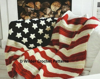 PDF USA Star and Stripe Throw Crochet Pattern