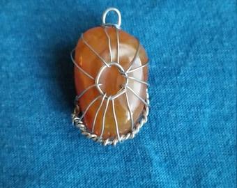 Wire-Wrapped Orange Stone Pendant
