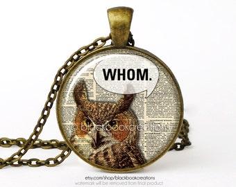 Whom Owl Grammar Necklace -  Handmade