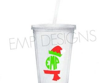 Elf Monogrammed tumbler- Personalized Tumbler, Christmas Tumbler