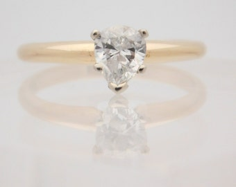 0.61 Carat Certified Pear Cut Diamond Engagement Ring 14K Yellow Gold