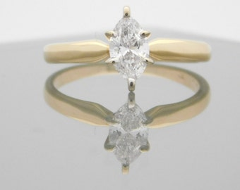 0.48 Carat Marquise Cut Diamond Solitaire Engagement Ring 14K Yellow Gold