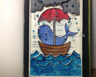 Altered Book: Whale in Boat
