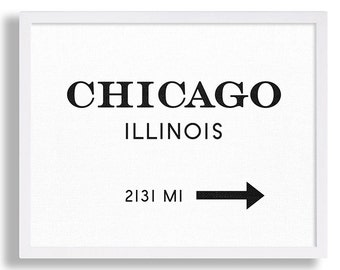 Chicago Art Print Old Chicago Sign Subway Wall Art Black and White Decor Bus Scroll Poster Large Size Print Modern Art The Windy City Ill
