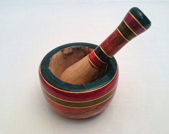 Handcrafted Decorated Olive Wood Pestle & Mortar - Colorful stripes