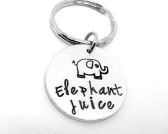 Elephant Juice Keyring (hand stamped)