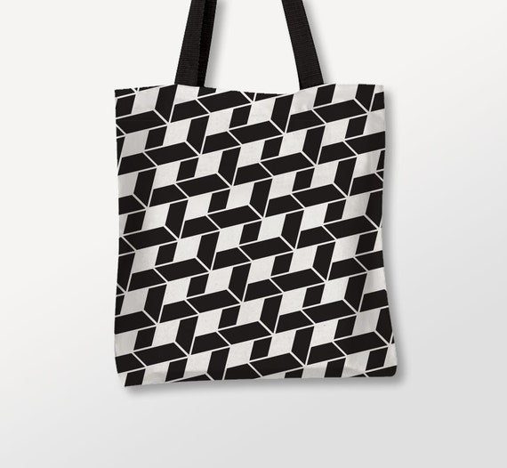 Geometric Tote, Graphic Pattern, Black White Bag, Abstract Mosaic