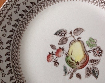 """Johnson Bros 10"""" Dinner Plate Old Granite Fruit Sampler Polychrome Transferware England (Select 1 or 2)"""