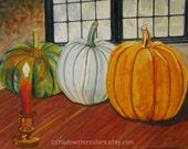 Original Pumpkins Watercolor Painting. Pumpkin painting. Watercolor art. Colonial decor. Early American. Pumpkin wall art. Pumpkin picture.
