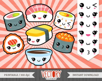 13 Kawaii Sushi Clipart, Cute Sushi Clipart, Sushi Clip Art, Kawaii Sushi Icons, Cute Sushi Set, Kawaii Emoticons by VectoryClipart