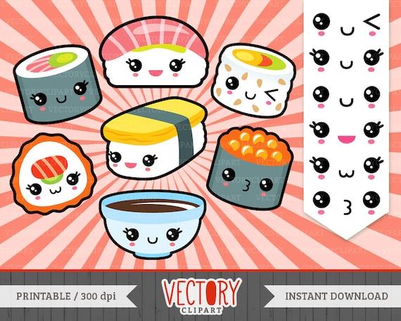 Kawaii Sushi Clipart, Cute Sushi Clipart, Sushi Clip Art, Kawaii Sushi ...