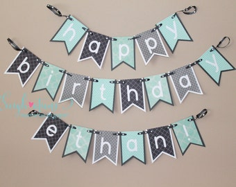 Happy Birthday Ethan Banner; Polka Dots; Grey & Teal; First Birthday Banner; Boy Birthday Banner