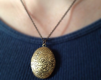 Antiqued Brass Floral Locket Necklace