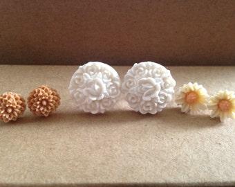 Set of Daisy/Flower Stud/Post Earrings