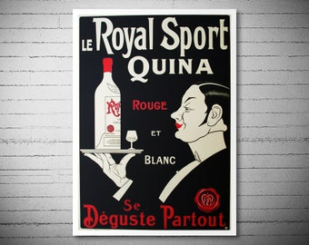 Le Royal Sport Quina Rouge et Blanc Vintage Food & Drink Poster - Poster Print, Sticker or Canvas Print