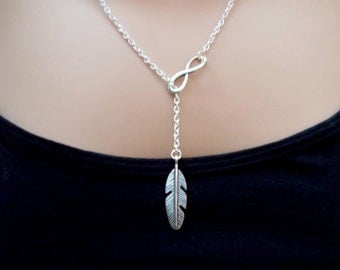 silver lariat necklace - feather necklace - silver jewellery - infinity necklace - feather lariat - silver necklace - gift for her