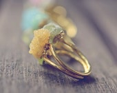 Peridot Ring // Gemstone Ring // Christmas // Agate Druzy Gemstone Ring // Electroformed 18 K Ring // Trendy Gift // Gift for her // Crystal