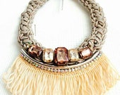 Smoky brown necklace, Bohochic necklace, Brown rope necklace, Big bold chunky necklaces, Big crystal necklace, Fringe tassel necklace