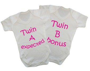 Twin A Expected-Twin B Bonus,Baby onesie,babygrow twin set