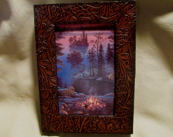 """Custom Leather Photo Frame with embossed cowhide for a 5"""" x 7"""" photo. A great gift!"""