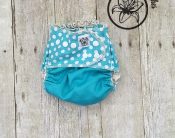 Ready to ship* The Ultimate Fitted Diaper! Teal Dots size Medium Organic Hemp Cloth Diaper