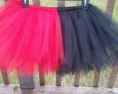 Harley Quinn Inspired Tutu Red and Black Tutu Half Red Half Black Tutu