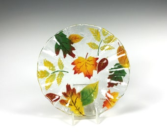 Fall Leaves Bowl Fused Glass