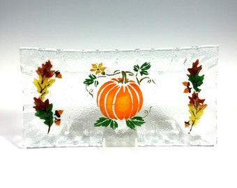 Pumpkin Serving Tray Fused Glass