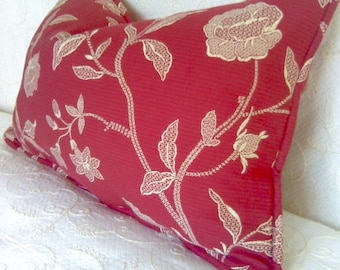 Red Ivory Toile Ottoman Pillow Cover 13x20
