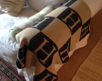 Charcoal Grey and Tan Hand Knit H Blanket Small Size Lap Accent Small throw 3-4 WEEKS TO SHIP