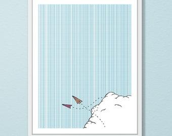 Paper Plane Wall Art - Nursery Wall Art- Original Illustration -Paper Airplane Art Print - Children's Room Decor
