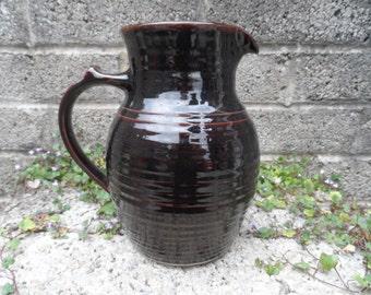 Vintage studio pottery jug - marked - 1970's