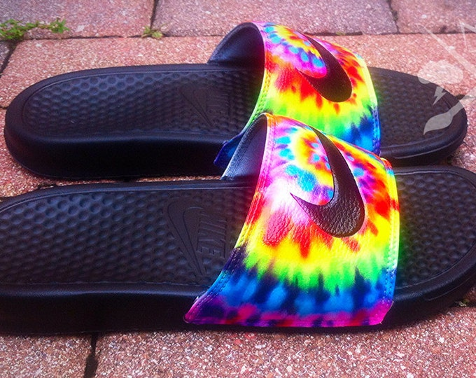 Nike Custom Trippy Tie Dye Psychedelic Hippy Swirl Benassi Swoosh Slides Sandals Flip flops