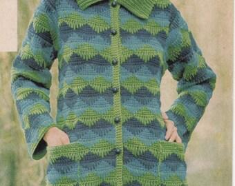 Vintage Crochet Pattern PDF, Coat Pattern, Jacket Pattern, Instant Download, Womens Crochet Pattern, PDF Crochet Pattern, 1970s