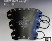 Black and Silver Leather Fleur de Lis Archery Arm Guard