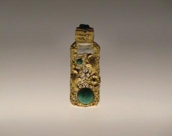 Czech Bohemian Jeweled Glass Mini Perfume Bottle
