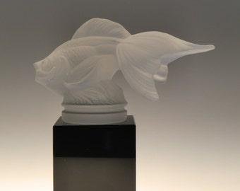 Czech Bohemian Curt Schlevogt Art Deco Fish Glass Sculpture