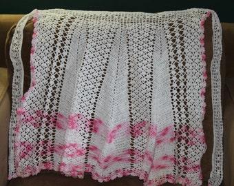 Handmade Crochet Pink and White Apron