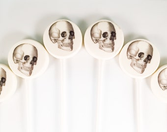 6 White Chocolate Skull Lollipops