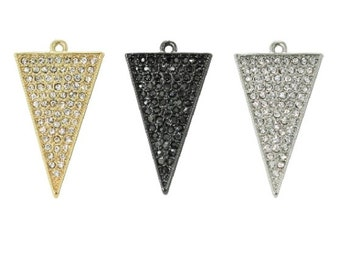 Pave Crystal Large Traingle Charm (1pc)