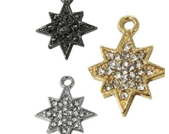 Pave Crystal MINI Starburst Charm (3pc)