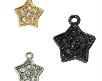 Pave Crystal Mini Star Charm (3pc)
