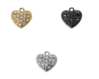 Pave Crystal Heart Charm (3pc)