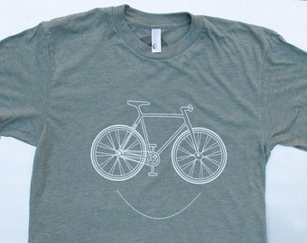 smiling Bike Shirt, cycling tee american apparel. color lieutenant s,m,l,xl. free shipping in US.