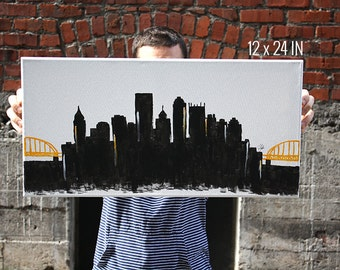 Pittsburgh Pennsylvania Canvas Skyline Painting