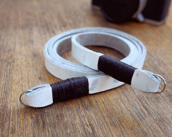 Vintage White Leather Camera Neck Strap with Dark Twine 43""